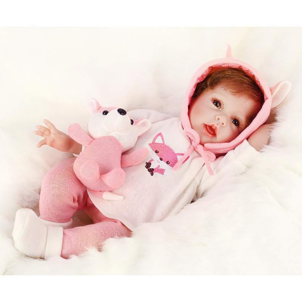 LBHE Reborn Baby Doll Lebensechte Realistische Baby Doll, Tall Dreams Geschenkset Ensemble, 22-Zoll-Weißhted Baby, ab 3 Jahren
