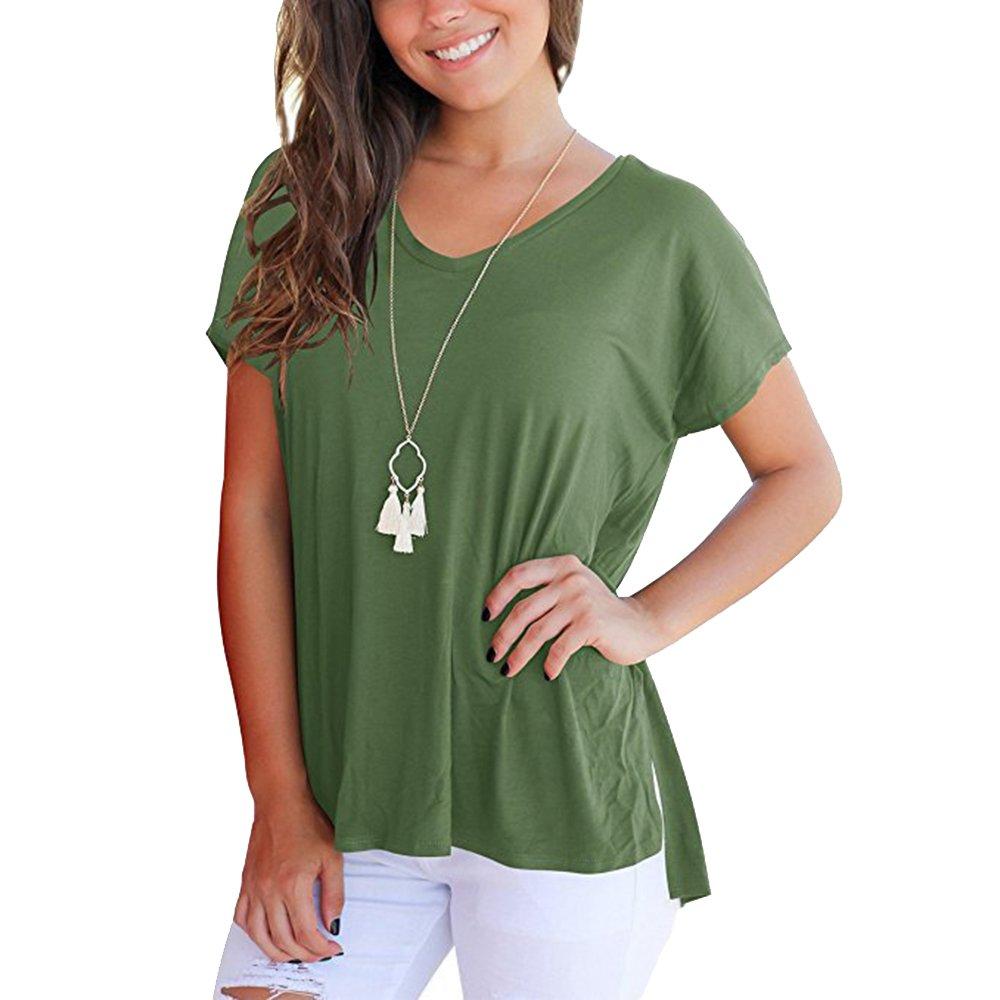 04b436f17a79 Youthny T-Shirt Lâche d été Fentes Latérales Col en V Court Devant Long  Derrière pour Femmes  Amazon.fr  Vêtements et accessoires