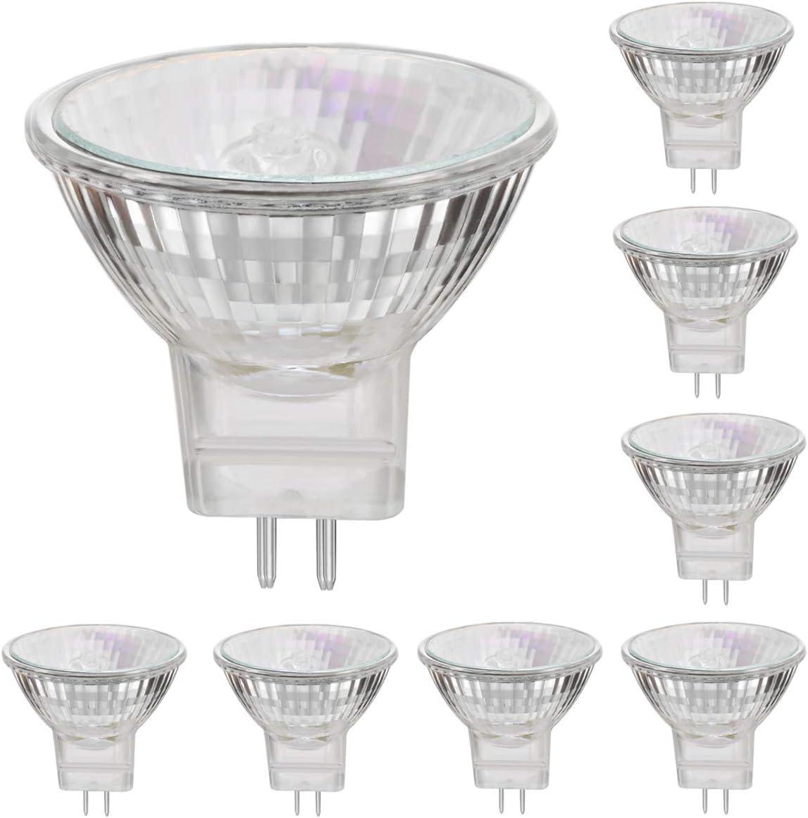 lámparas halógenas MR11 12V 20W reflector GU4 base spot 2800K blanco cálido, regulable 4000 horas de larga duración - paquete de 8