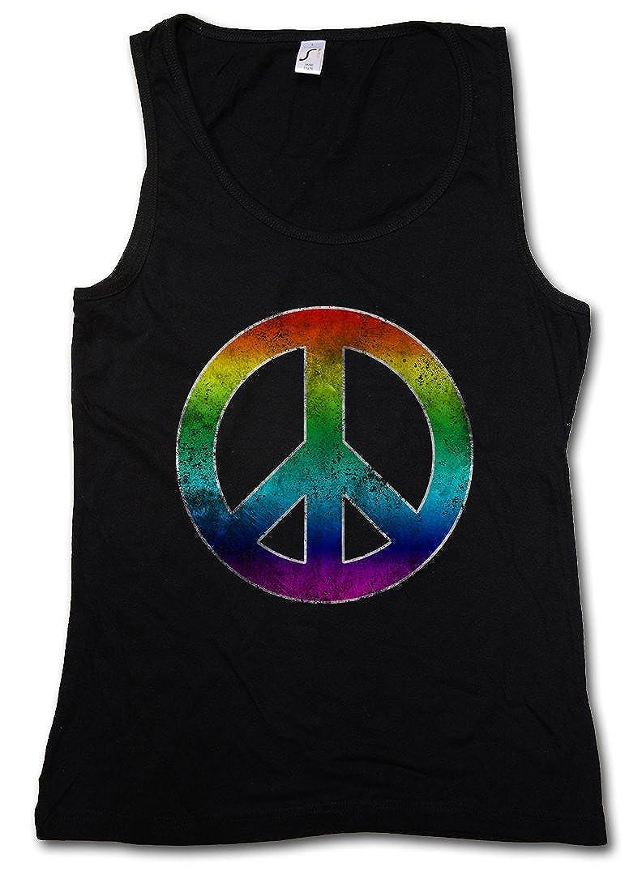 Rainbow Peace Symbol Mujer Camiseta Sin Mangas Women Tank Top arco/íris Paz Sign Logo Hippie 60s Cultur Goa Gay Free Love 60s Hippie Summer of Love Symbol