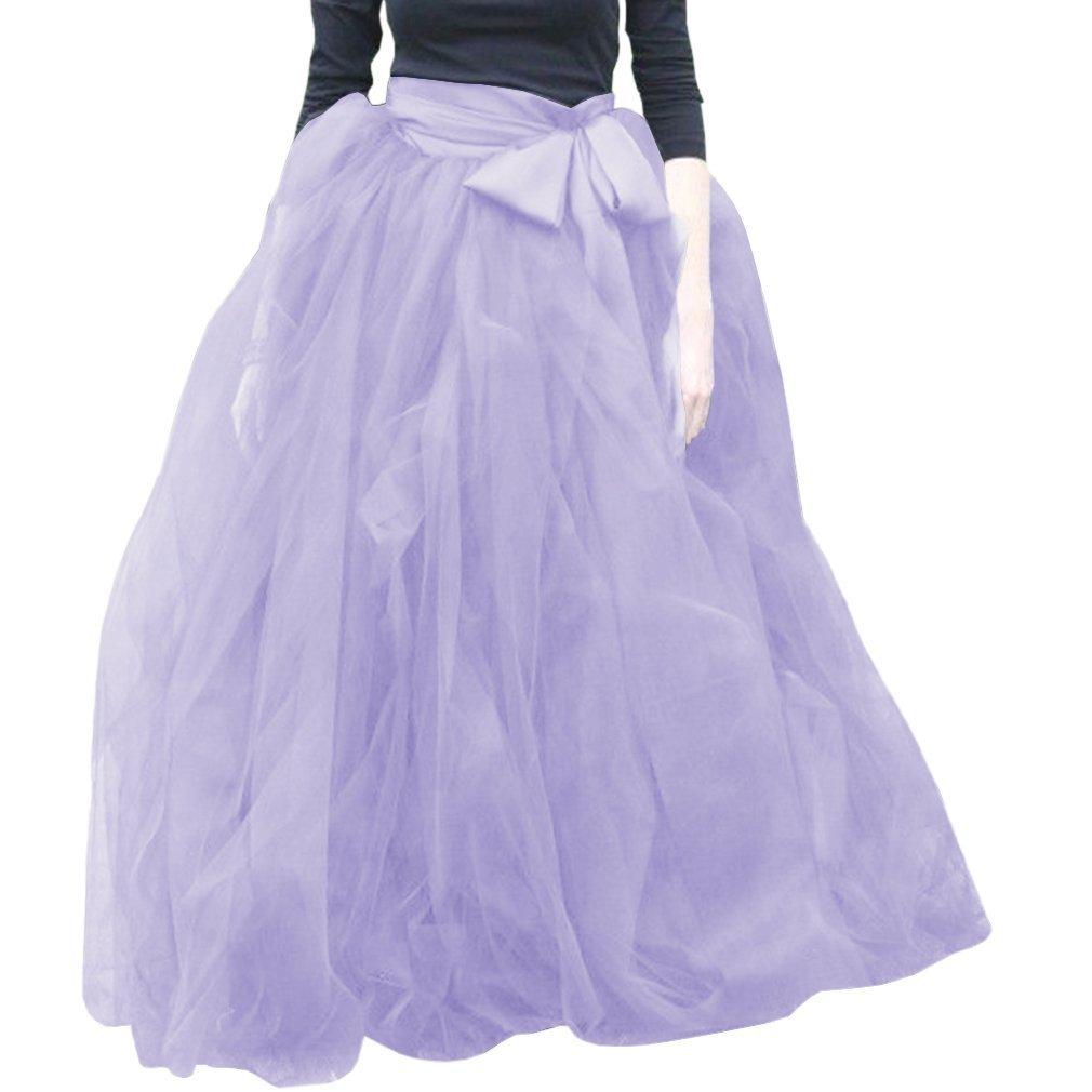 Lavender Wishopping Womens Long Ruffles Tutu Tulle Skirt