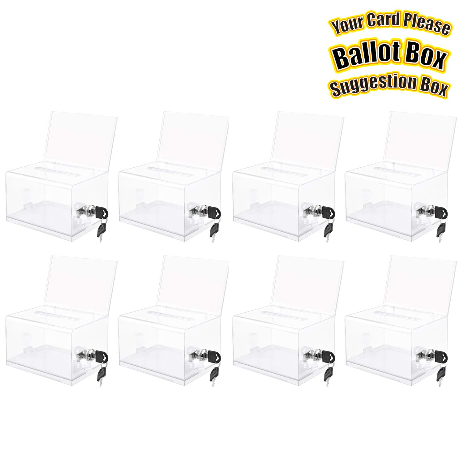 MaxGear Acrylic Donation & Ballot Box with Lock (6.25'' x 4.5'' x 4'') - Clear 8 Pack