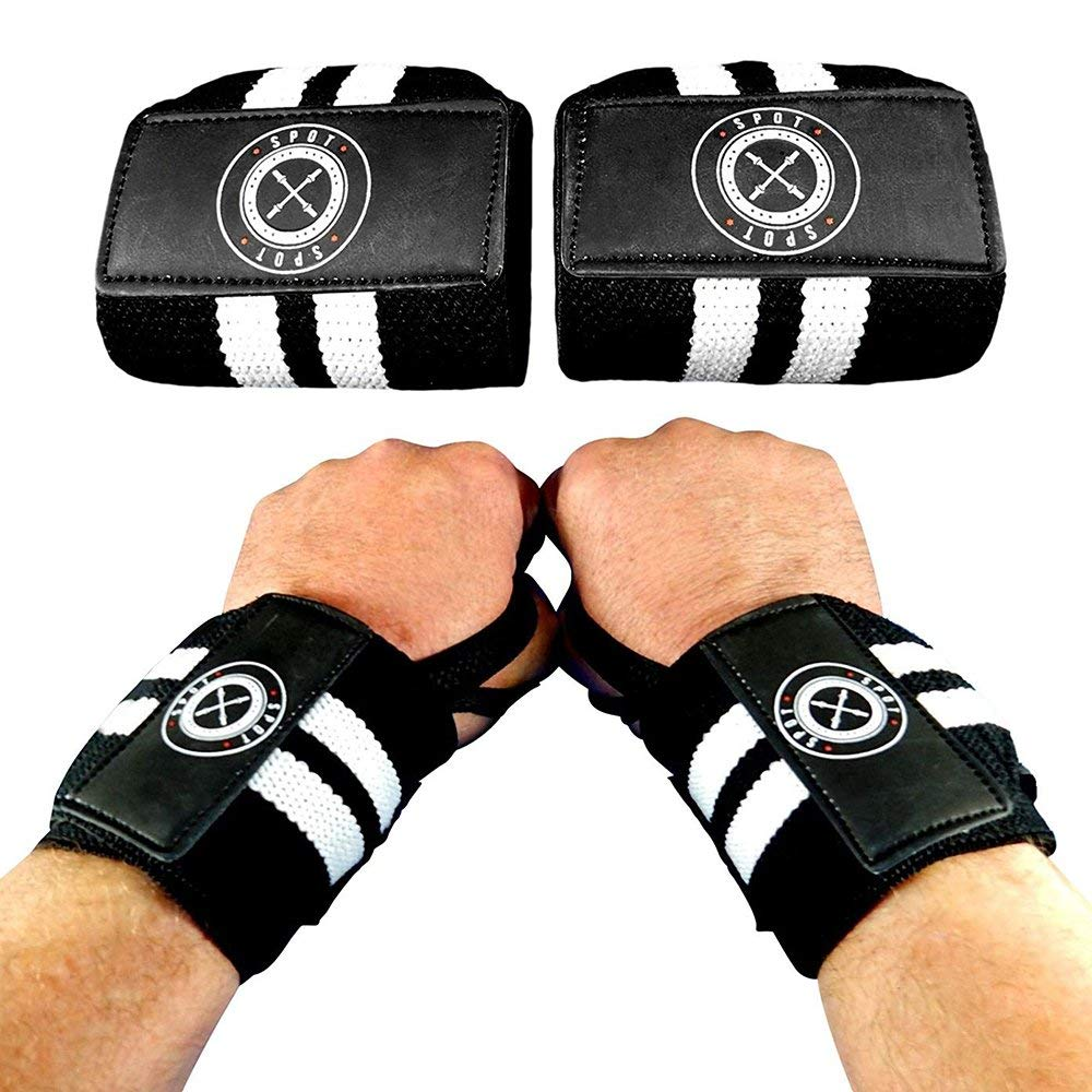 Spot Lion Fitness Wrist Wraps (Professional Quality) Powerlifting, Bodybuilding, Weight Lifting Wrist Supports for Weight Training - Black with White Stripes - Lot of 100.
