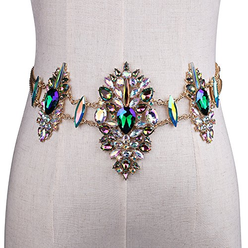 cyclamen9 Diamond Chain,Women's Belly Chain Women Crystal Rhinestone Bling Statement Body Waist Chain Belt Clubwear Retro Belt (Rhinestone Belly Chain Belt)