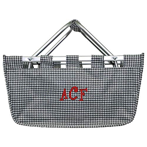 Personalized Large Collapsible Market Tote Baskets with Aluminum Frame (Houndstooth)