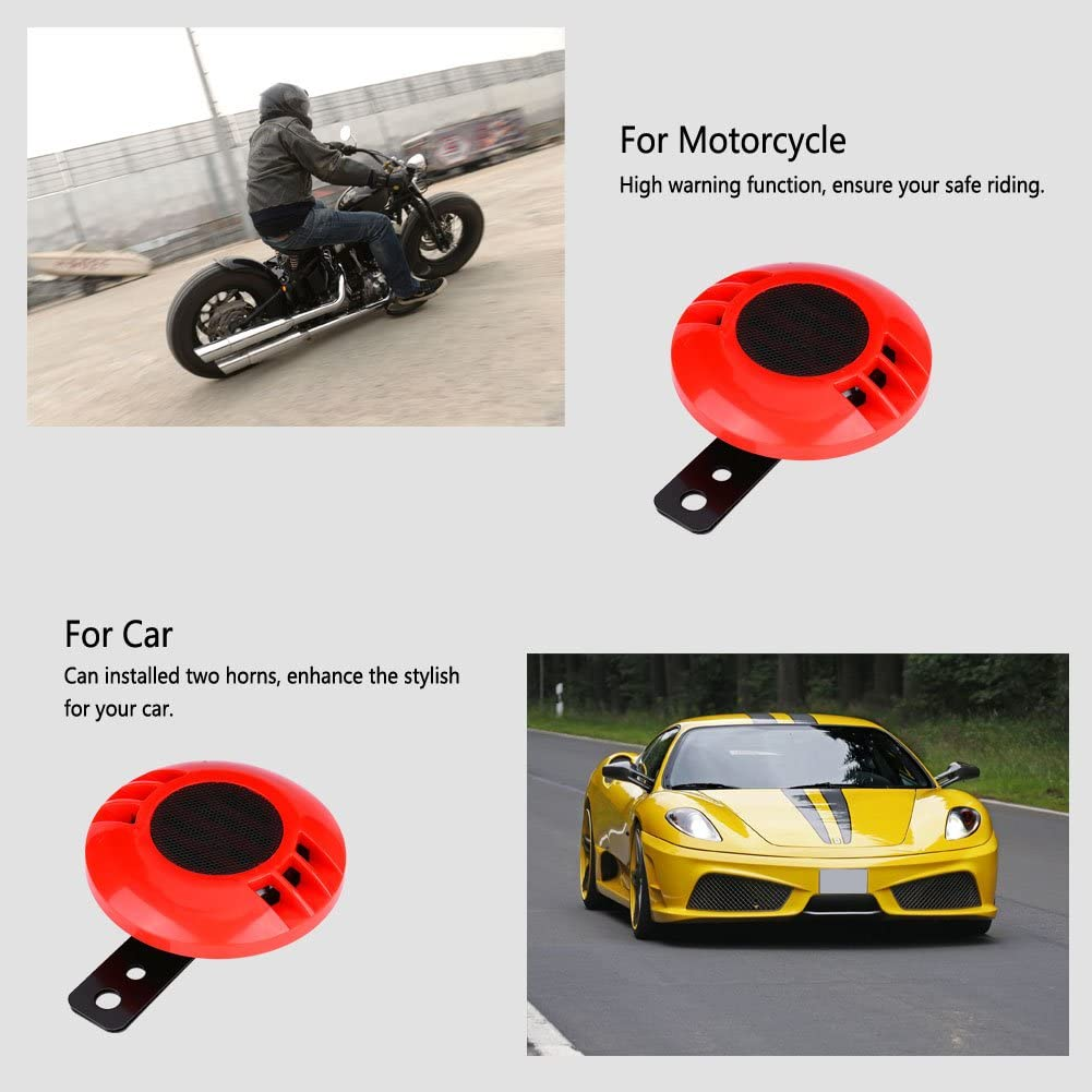 Electric Snail Horn Red Keenso Universal Loudspeaker 110DB 430HZ Waterproof with Bracket for 12V Car Vehicle Truck Motorcycle