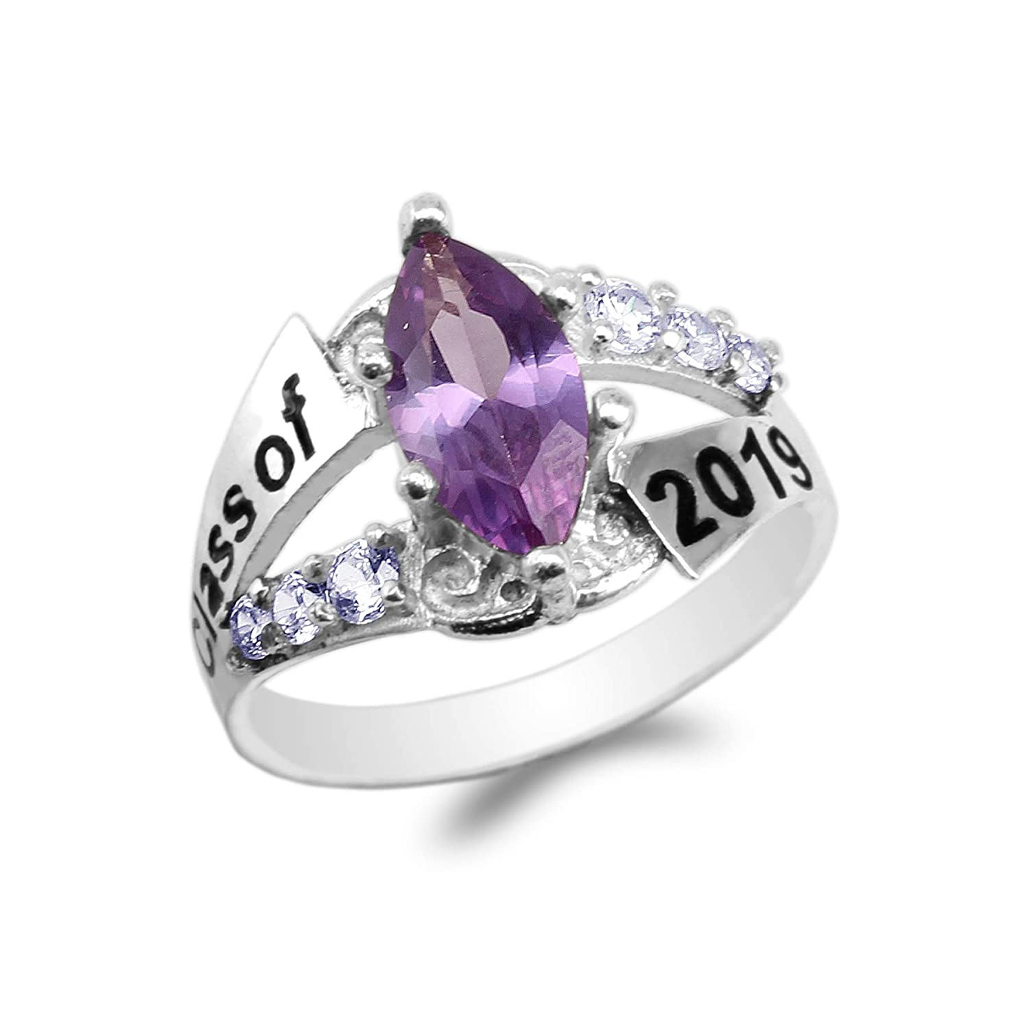 JamesJenny White Gold Plated Graduation Class of 2019 School Ring with 1.25ct Purple Marquise CZ Size 4-10