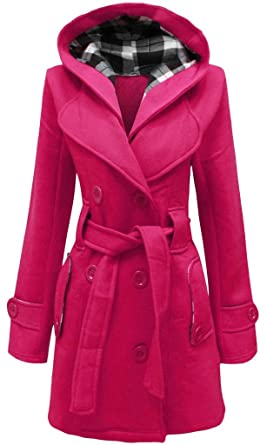 330605a9ea8 Ladies Womens New PLUS SIZE Coat Belted Hood Buttoned Fleece Hooded Coats  Jackets FUCHSIA UK SIZE