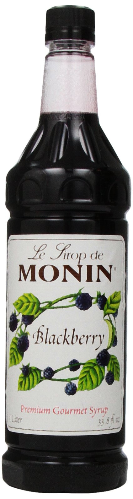 Monin Flavored Syrup, Blackberry, 33.8-Ounce Plastic Bottles (Pack of 4)