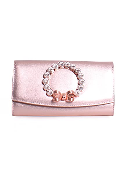 f45df62b3 Ted Baker London Pearlii Leather Pearl Bow Matinee Chain Clutch in Rosegold   Amazon.ca  Clothing   Accessories
