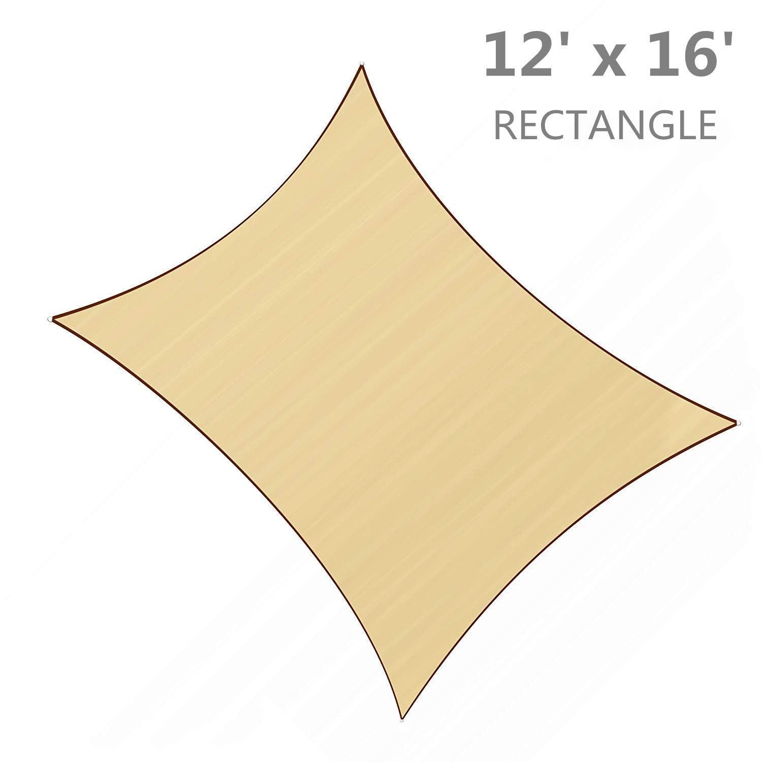 SUNLAX 12 x 16 Rectangle Sun Shade Sail Sand Color UV Resistant for Outdoor Patio Lawn Garden Activities