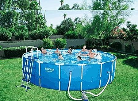 Piscina redonda de 366 x 122 cm para jardín, con motor de agua, ref. BES097: Amazon.es: Hogar