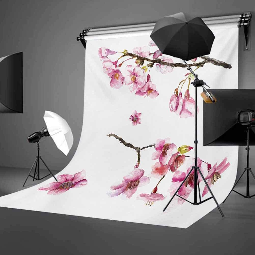 Cherry Blossom Sakura Branch Spring Fruit Tree Flowers Hand Drawn Style Background for Kid Baby Boy Girl Artistic Portrait Photo Shoot Studio Props Video Drape Vinyl 6.5x10 FT Photography Backdrop