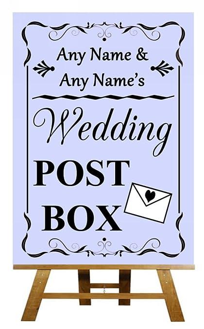Lila boda buzón de correos con texto en inglés, morado ...