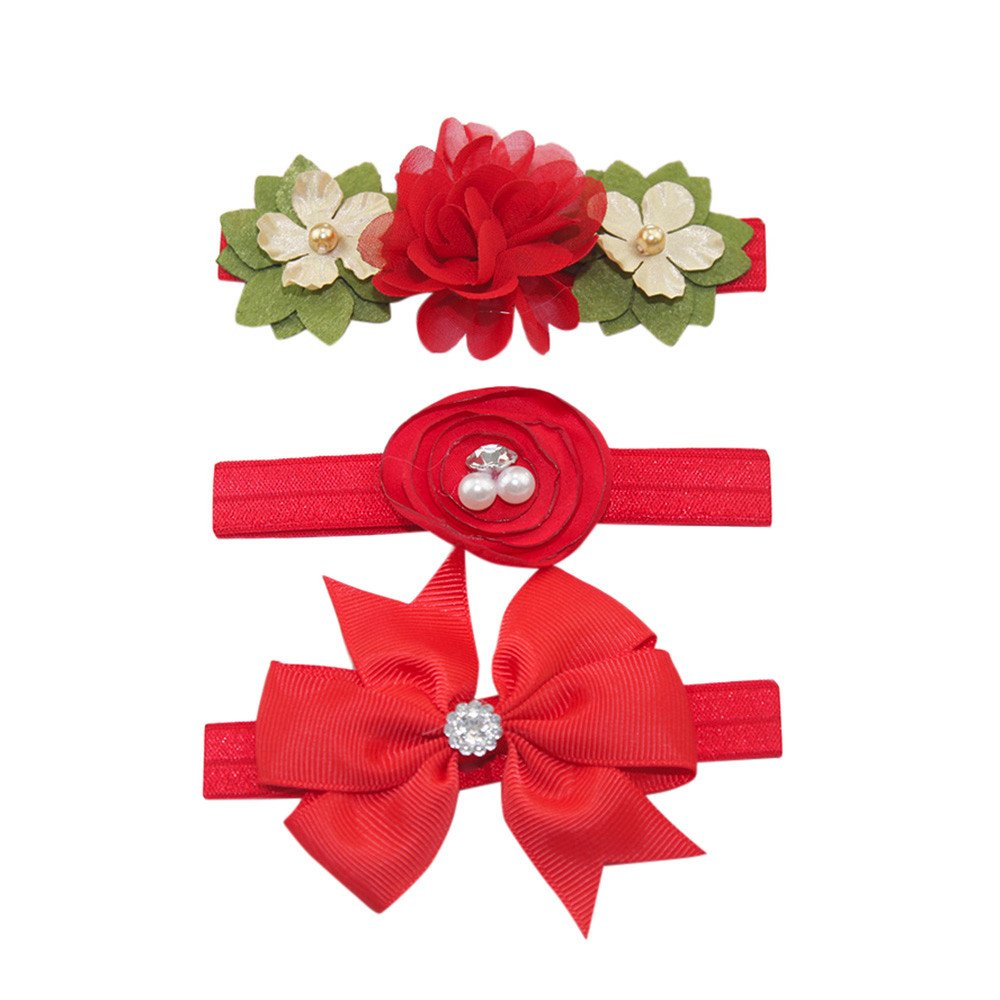 Naiflowers 3 Pcs Set Baby Girl Elastic Luxury Beautiful Floral Bowknot Pearl Headband Hairband (H)