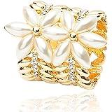 Fashion Wang placcato oro a doppia spiga di grano Forma Sciarpa Anello con Bella perla di lusso fortunato 5 Leaf Clover sciarpa tubo per i monili del fiore delle donne alla moda con strass BH00059