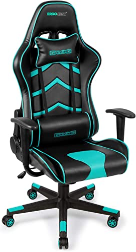 Gaming Chair PU Leather Executive Ergonomic Office Chair Rolling Racing PC Desk Chair Backrest and Seat Height Adjustment Recliner Swivel Rocker