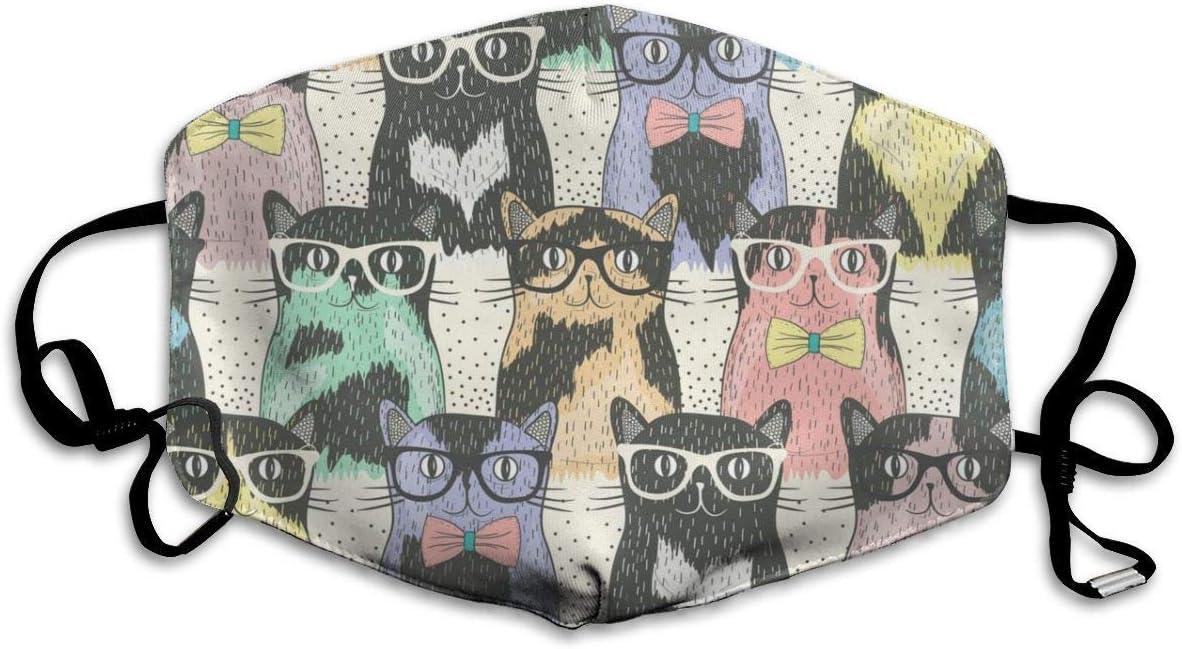 Hipster Personalizado Cute Cats Máscara cómoda y Transpirable, UniversalMask para Hombres y Mujeres para Proteger la Cara