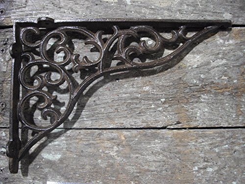 Unique Home Decorative Cast Iron Metal Ornate Scroll Pattern Shelf Bracket, 11 x 8 inch Set of 2, by Southern Charm Market by Southern Charm
