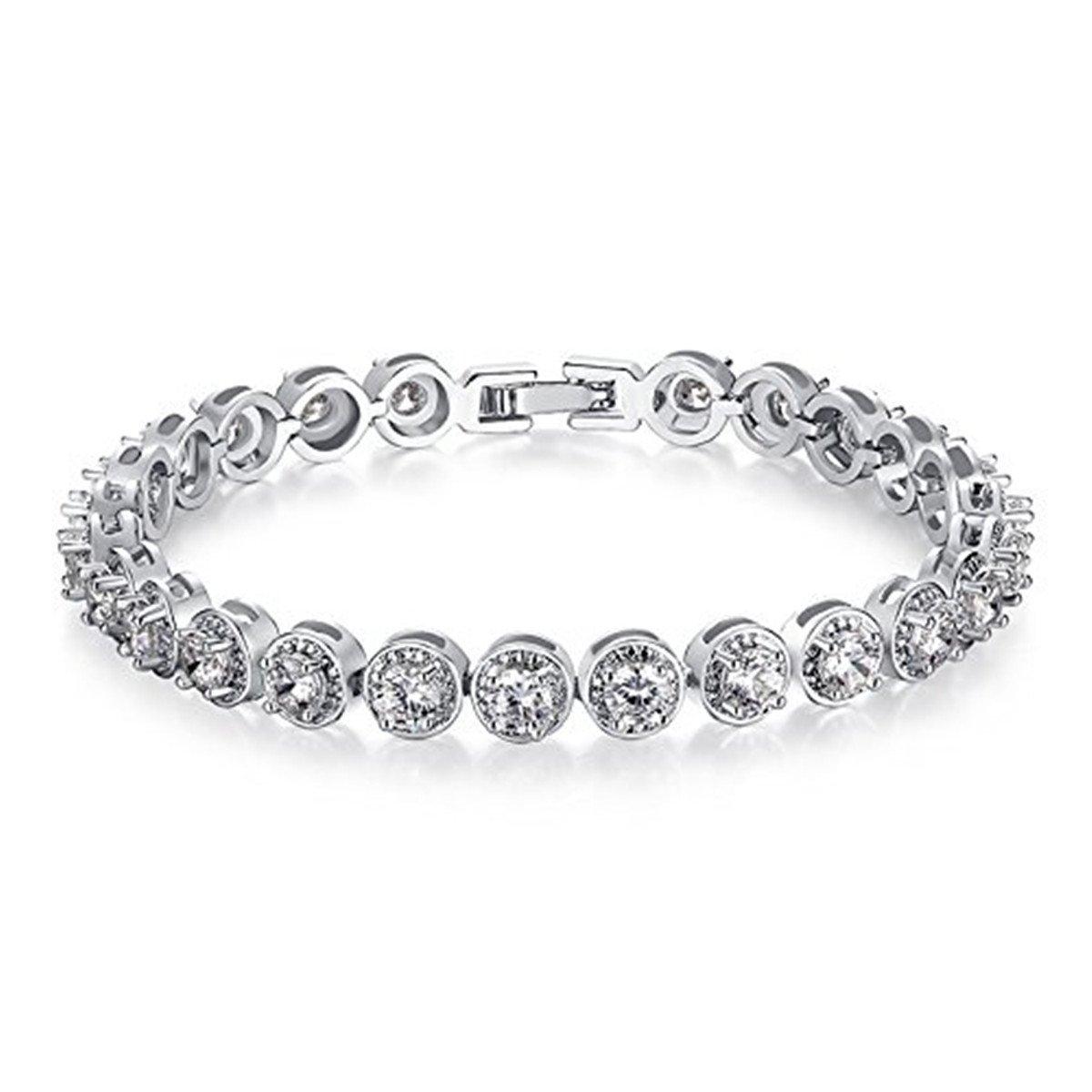 Gorgeous Round CZ Austrian Crystal Bridal Tennis Bracelet Wedding Women Jewelry Set Ubeauty1999 UJIB055