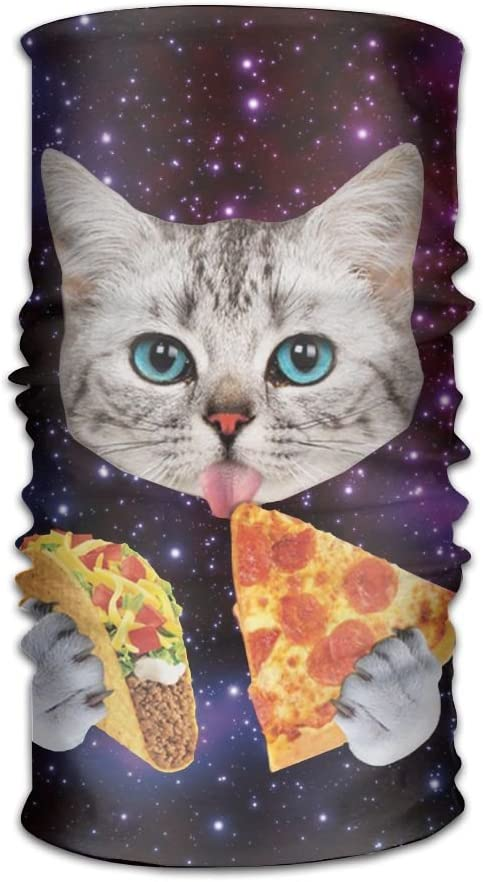 XIKEWL Galaxy Cat Eat Pizza Multifunctional Headband Classic Headwear Bandanas For Motorcycle Hiking Workout Yoga Fitness Cycling Exercise