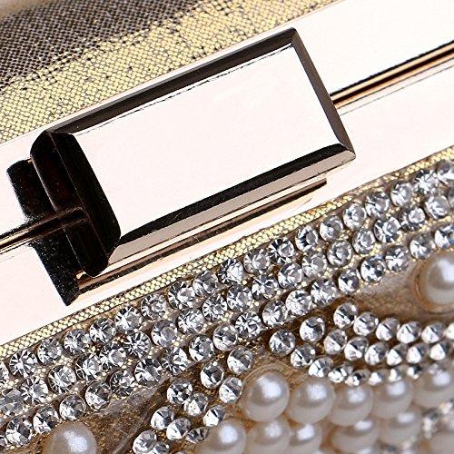 de Femmes Messenger chaîne Sac soirée de Sac épaule embrayages métal Jour soirée Sacs KYS Main Petit à perlées de gold Jour embrayages tqnOx4Xtd