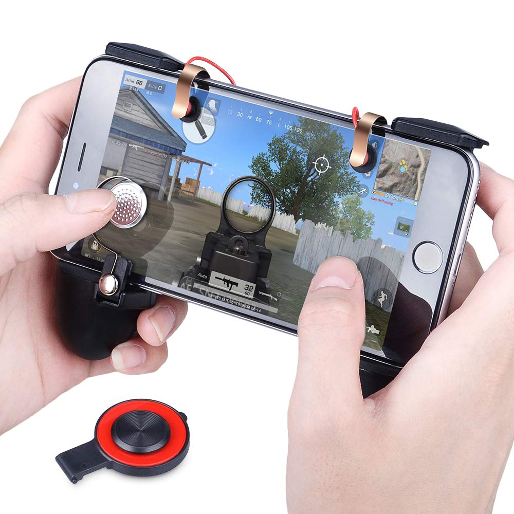 Qoosea PUBG Mobile Game Controllers Triggers Multi-Function Handle Grip Gamepad Sensitive Shoot Aim Joysticks for PUBG/Fortnite / Knives Out/Rules of Survival for 4.5'' to 6.5'' Android iOS Phones