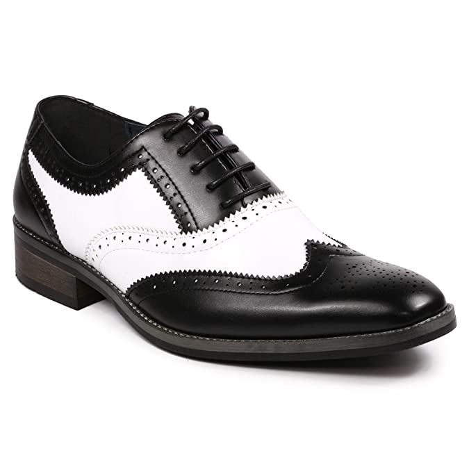 1950s Mens Shoes: Saddle Shoes, Boots, Greaser, Rockabilly Metrocharm MC118 Mens Two Tone Perforated Wing Tip Lace Up Oxford Dress Shoes £47.49 AT vintagedancer.com