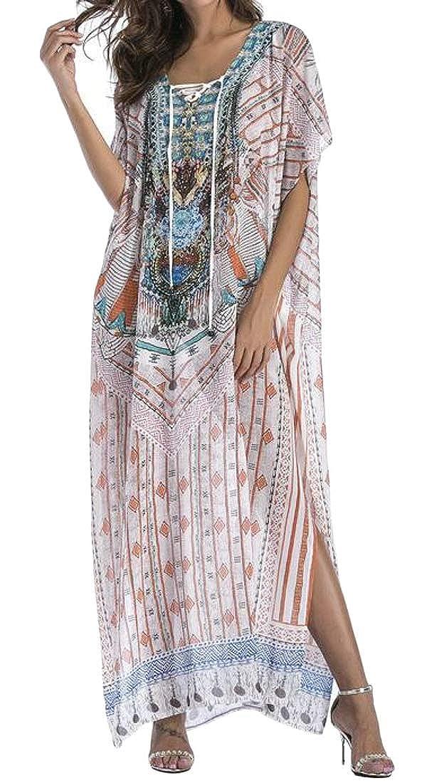 063d0c1cd7465 WAWAYA Women V Neck Bohemian Print Beach Cover Up Lace Up Bandage Summer Beach  Maxi Dress 1 OS at Amazon Women's Clothing store: