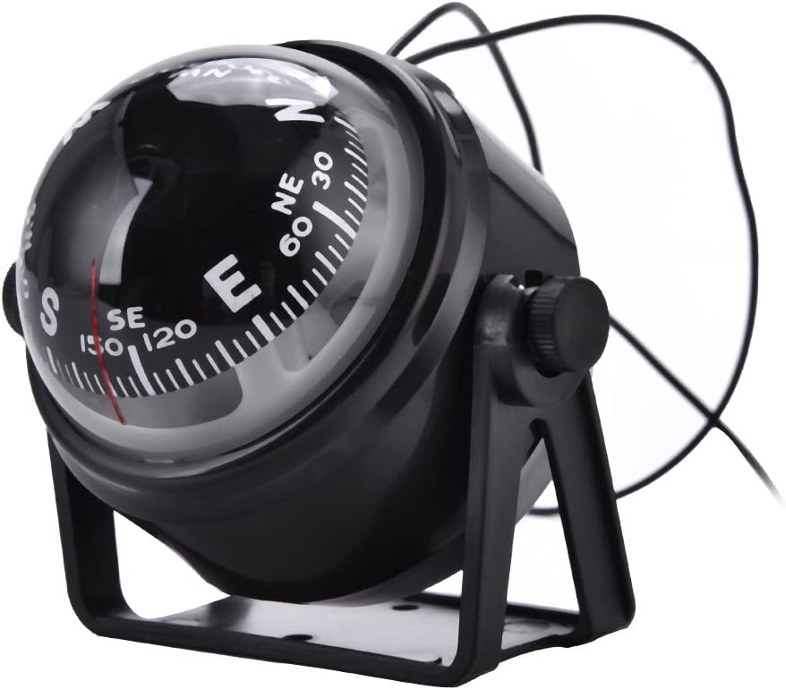 Vbestlife LED Ball Compass Outdoor High Precision Car Boat Marine Military Digital Magnetic Adjustable Compass