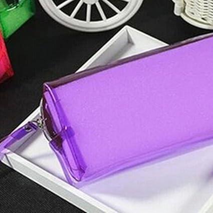 Welecom Estuche para lapiceros o cosméticos, cierre de cremallera, transparente, tamaño S/L morado morado S: Amazon.es: Belleza