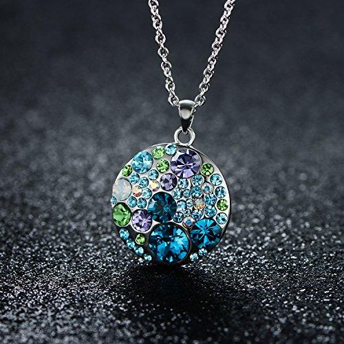 JiangXin juego de joya multicolor austriaco de cristal el aretes el colgante y el collar en forma de redondo