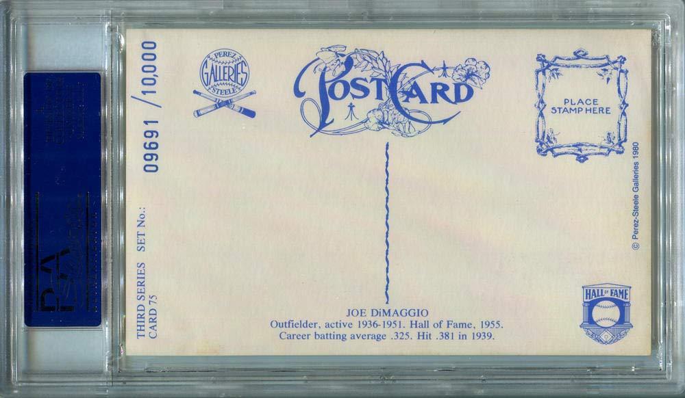 1980 Joe DiMaggio Signed Perez Steele Postcard #75. PSA Authentic