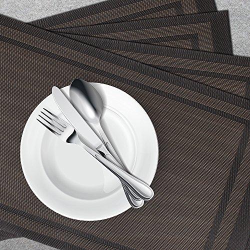 PVC Place Mats Heat-Resistant Non-slip Stain-resistant Washable Placemats, IHUIXINHE Woven Vinyl Double Border Table Mats, Set of 4 (Black)
