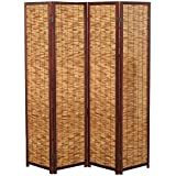 Decorative Brown Wood & Bamboo 4 Panel Privacy Screen / Freestanding Folding Partition Room Divider