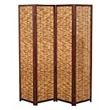 Decorative 4 Panel Wood & Bamboo Folding Room Divider Screen, Brown