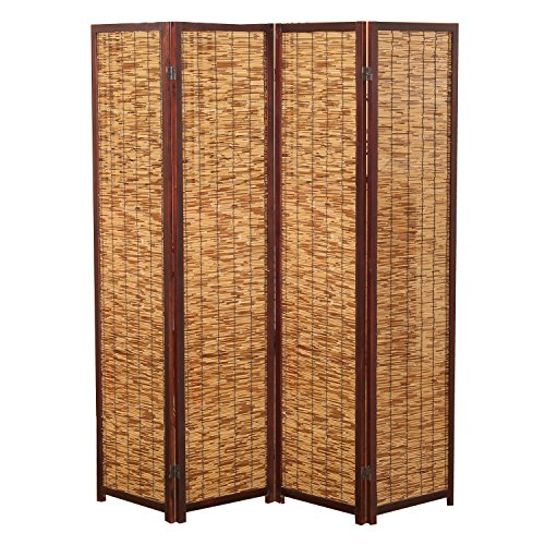 Decorative 4 Panel Wood & Bamboo Folding Room Divider Screen, Brown (Wall Dividers Temporary)