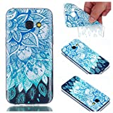 Cover Case for Samsung Galaxy A3 2017, CrazyLemon Transparent Soft TPU Silicone Gel Clear Ultra Thin Varnish Technology Embossed 3D Creative Pattern Design Scratch Resistant Shock Proof Rubber Skin Shell Protective Case Cover for Samsung Galaxy A3 2017 - Blue Leaves