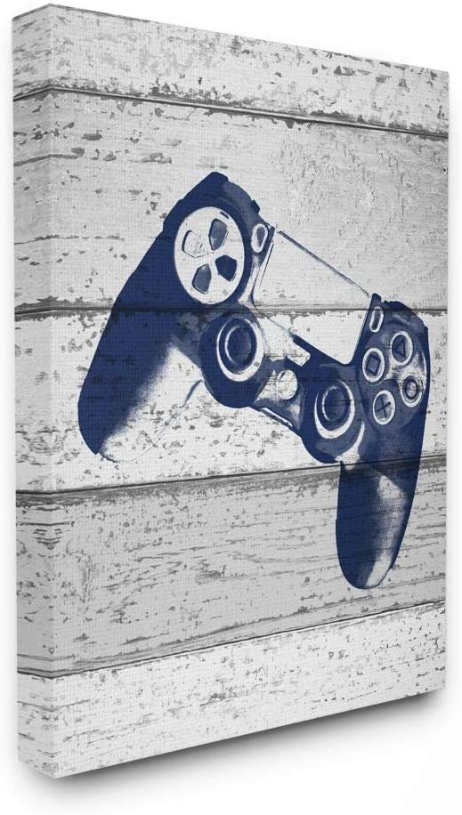 The Kids Room by Stupell Video Game Controller Blue Print on Planks Wall Plaque Art 12 x 18 Multi-Colored
