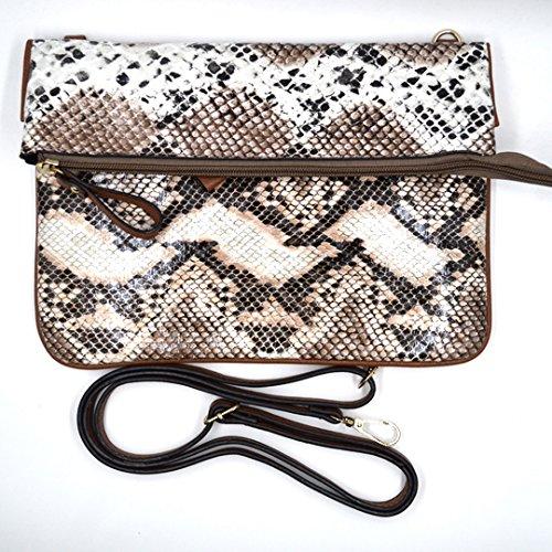 Snakeskin Lined Clutch (Goodbag Women Snakeskin Purse Faux Leather Foldover Clutch Handbag Envelope Clutch Bag Retro Crossbody Shoulder Bag)