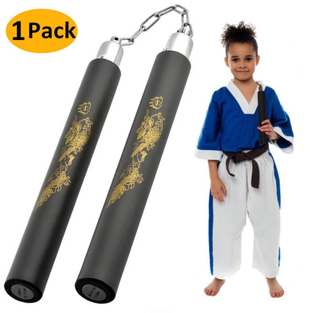 AumoToo Nunchucks de artes marciales, Foam Padded Practice Training Nunchaku con Chian para principiantes, el mejor regalo de juguete para niños (Negro)