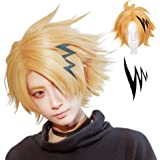 IMEYLE Wig +(1 Black Hairpin)Gloden Anime Cosplay Wig Short Wavy Halloween Costume Wigs Synthetic Hair Wig For Cons