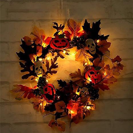 Autumn Maple Leaf Artificial Christmas Halloween Home Door Decors Garland Wreath