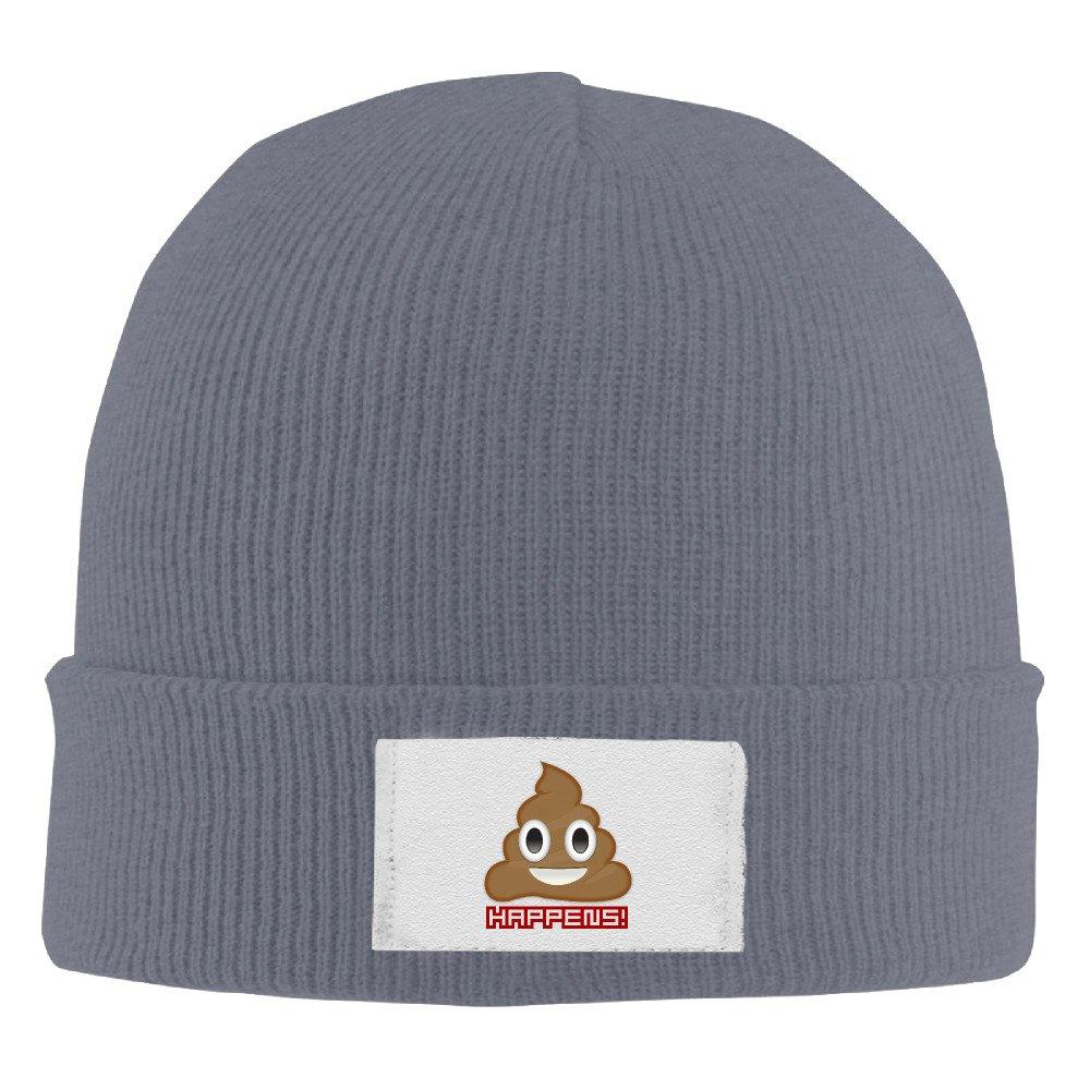Unisex Acrylic Emoji Poop Happy Slouchy Hat Asphalt