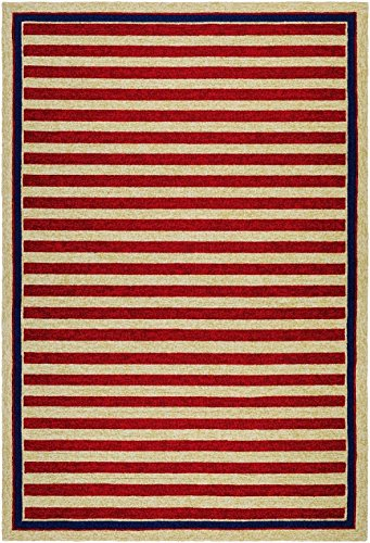 Couristan Solid/Striped Rectangle Area Rug 2'x4' Red-Navy Covington (Covington Collection)