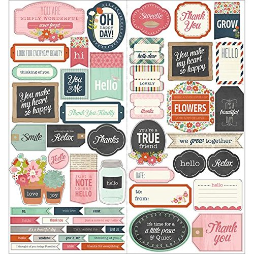 American Crafts Front Porch 2-Sheet Cardstock Stickers, 6 by 12-Inch, Phrase
