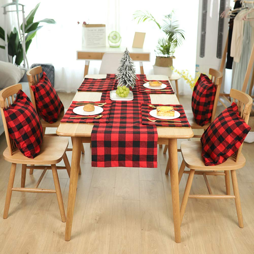 MoMo Honey Vintage Plaid Table Runner Double Side Checkered Burlap Tablecloth Modern Christmas Decor Home Dining Room Kitchen Table Ornament Black White Plaid