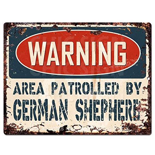 WARNING AREA PATROLLED BY GERMAN SHEPHERD Chic Sign Vintage Retro Rustic 9
