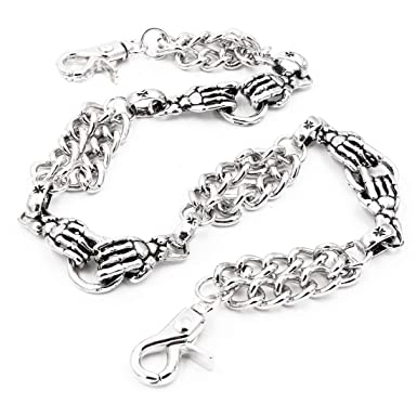 8967343f69af Amazon.com: Uniqsum Skull hands Double links Wallet Chain Trucker ...