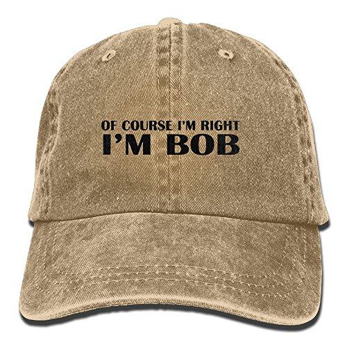 Richard Of Course I'm Right I'm Bob Adult Cotton Washed Denim Leisure Hat Adjustable - Orlando Centres Shopping